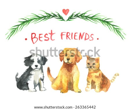golden labrador retriever puppy and tricolor havanese and cat. Best friends illustration. Charming puppy. Realistic golden labrador. Watercolor background with dog and cat - stock vector