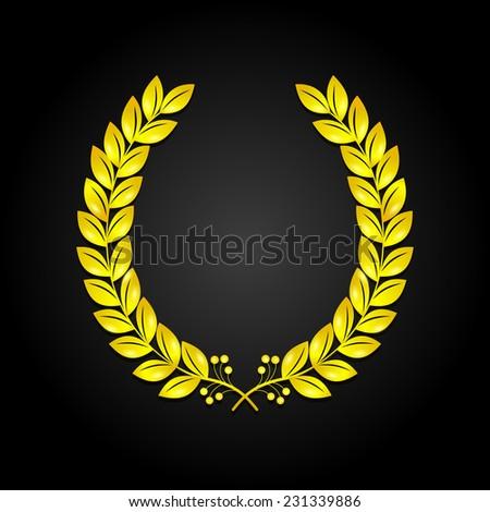Golden laurel wreath on black background vector illustration - stock vector