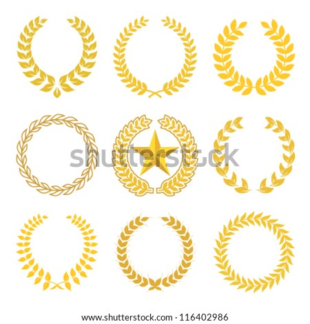 golden laurel wreaths - stock vector