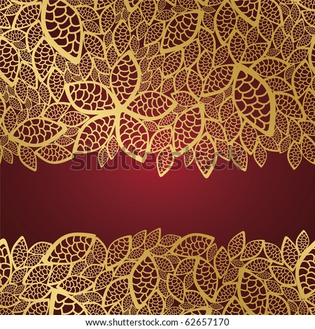 Golden leaf lace on red background - stock vector