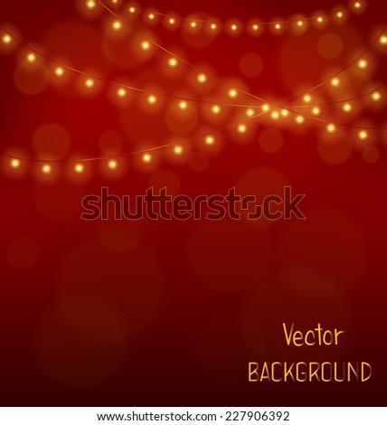 Golden led Christmas lights garlands on red background - stock vector