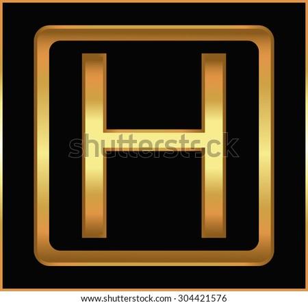 Golden letter H.Golden alphabet letter H logo.Vector illustration. - stock vector