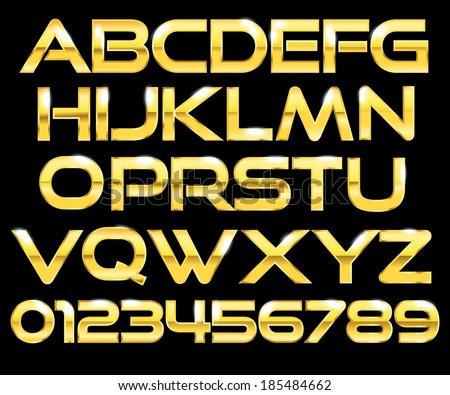 Golden letters - stock vector
