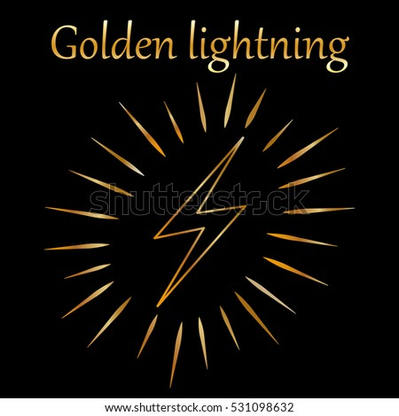 Golden lightning line icon isolated on the black background. Vector illustration.