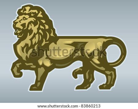 Golden Lion - stock vector