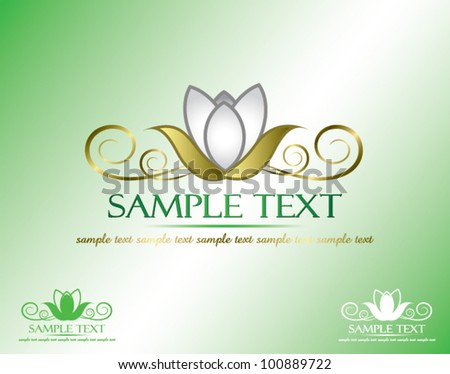 Golden lotus banner with place for text - vector illustration - stock vector
