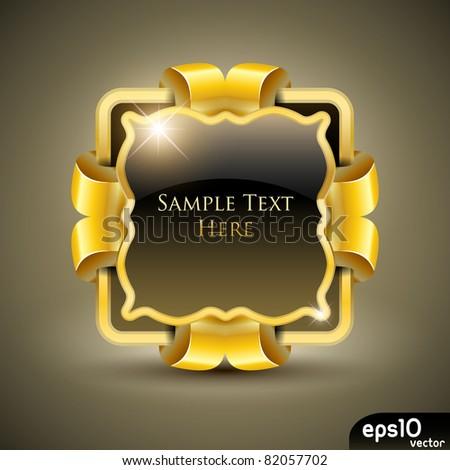 Golden luxury label (vector stickers) - stock vector