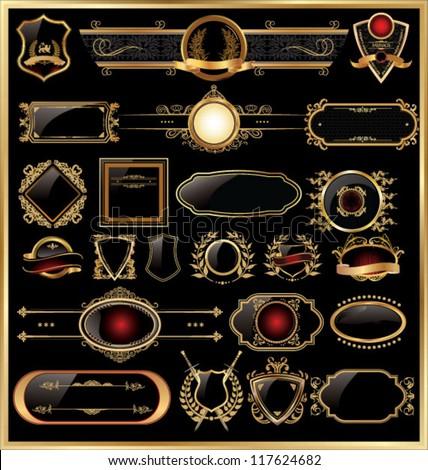 Golden luxury ornate frames - stock vector