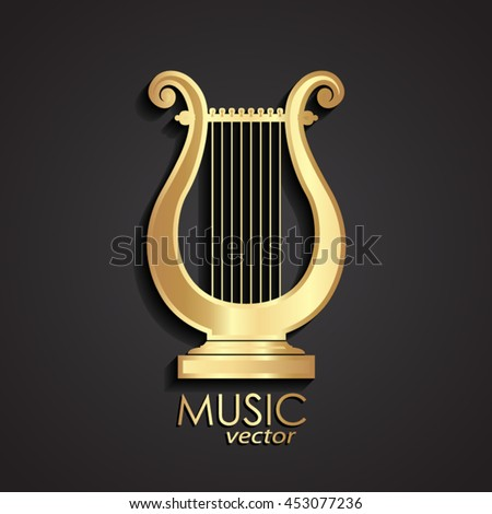 golden lyre / music theme icon/ vector illustration illustration