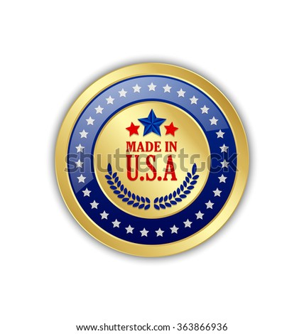 Golden Made in U.S.A. symbol on white background - stock vector