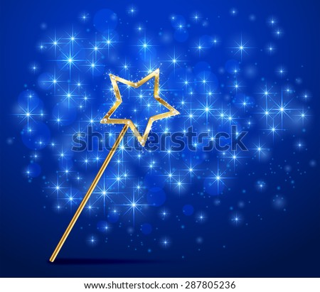 Golden magic wand on blue sparkle background, illustration. - stock vector