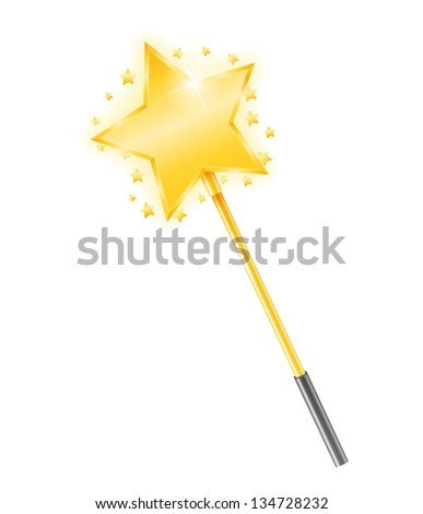 Golden magic wand with stars, vector eps10 illustration