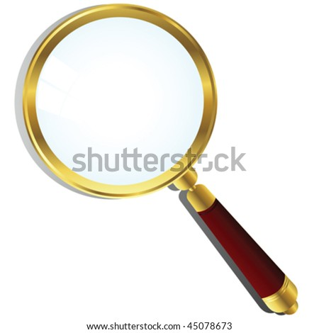 Golden magnifying glass over white background - stock vector