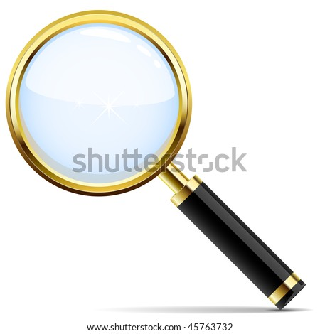 Golden magnifying glass vector icon isolated on white. - stock vector