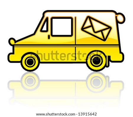 Mail Truck Outline Stock Vector 13915666 - Shutterstock  Mail Truck Outl...