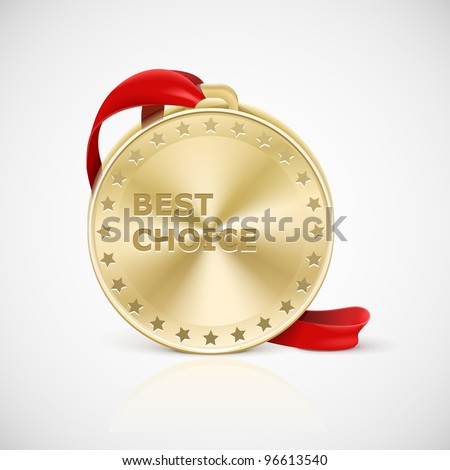 golden medal isolated - stock vector