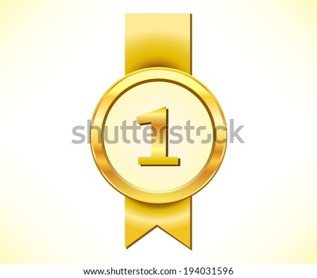 Golden medal with number one sign - stock vector
