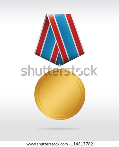 Golden medal with thee color ribbon. Vector illustration
