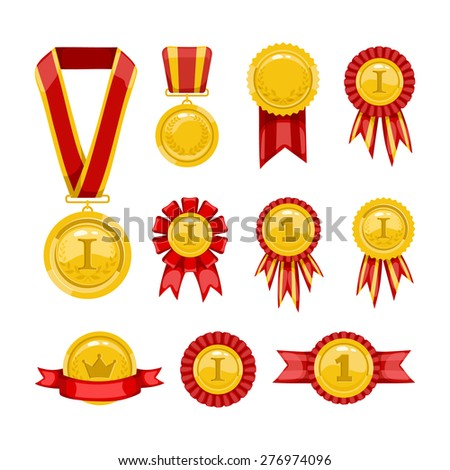 Golden medals. Gold awards with ribbons and framing.