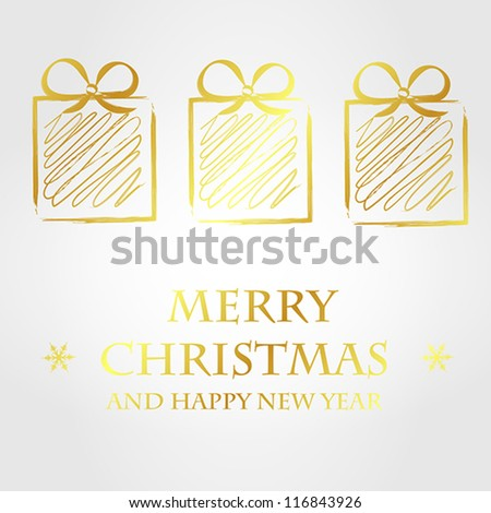 golden merry christmas template 2. christmas card. - stock vector
