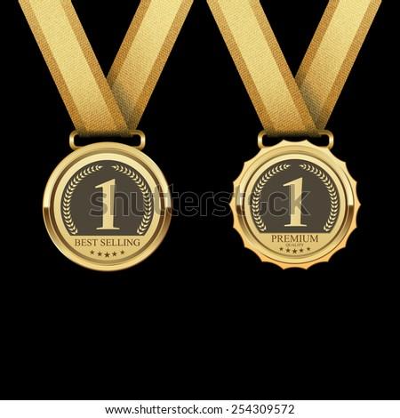Golden metal badges,Best selling,vector - stock vector