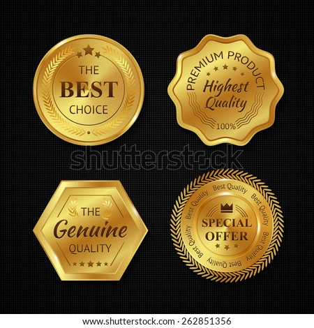Golden metal best choice premium quality badges set isolated vector illustration - stock vector