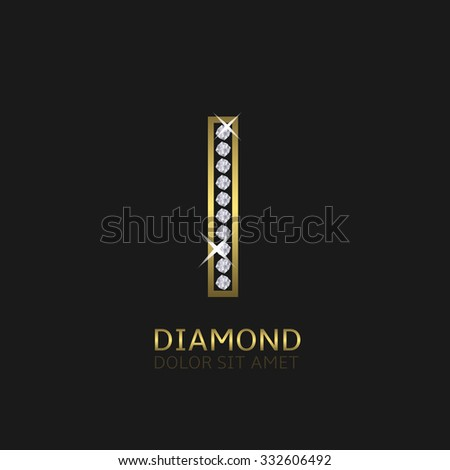 Golden metal letter I logo with diamonds. Luxury, royal, wealth, glamour symbol. Vector illustration - stock vector