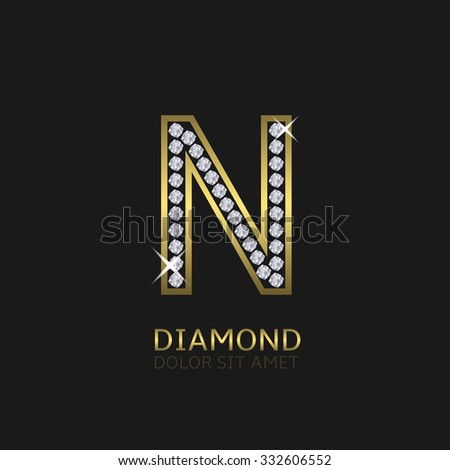 Golden metal letter N logo with diamonds. Luxury, royal, wealth, glamour symbol. Vector illustration - stock vector