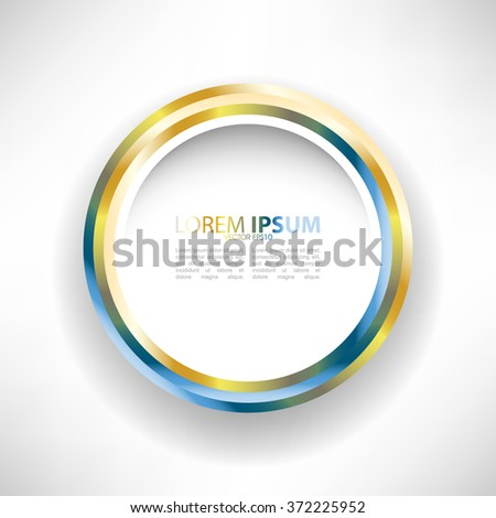 golden metallic isolated flat round frame - stock vector