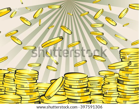 Golden money stacks and rain. Gold coins. Retro vector illustration of the shining wealth. Lottery winning or business success concept. Pop art treasure image. Vintage rays background