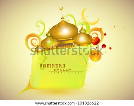 Golden Mosque or Masjid on beautiful floral background with moon and Ramadan Kareen text. EPS 10. Vector illustration. - stock vector