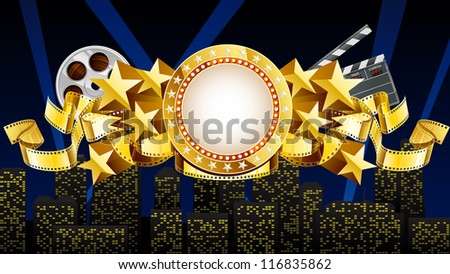golden Movie theme EPS 10, file has layers - stock vector