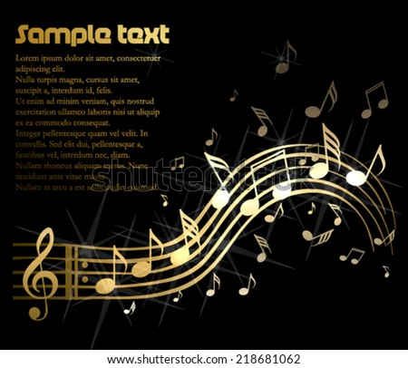Golden music theme - stock vector