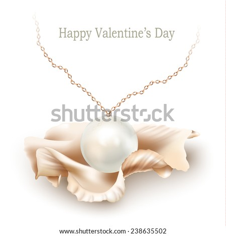 Golden necklace with a pearl pendant and a shell, isolated on a white background. Valentine's Day gift. Vector illustration - stock vector