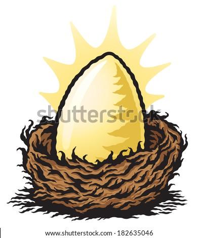 Golden Nest Egg - stock vector