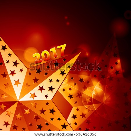 Golden New Year Twenty Seventeen in Numbers with Stars in a Glowing Gold Border Over Yellow Background