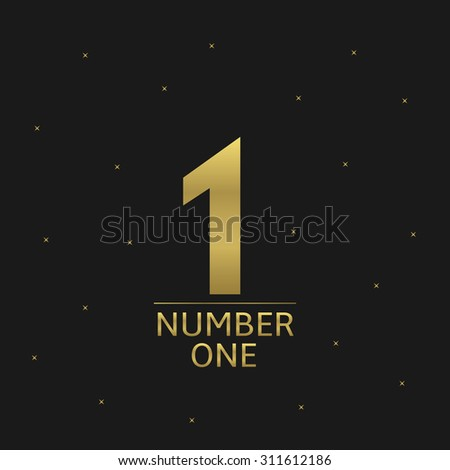 Golden Number One award icon for award ceremony. Business or sport concept - stock vector