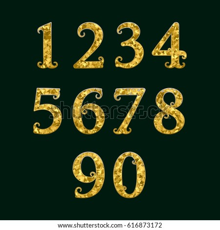 Golden Numbers Encrusted Small Glittering Fragments Stock Vector