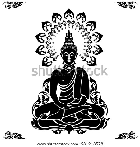 golden thai buddha vector illustration stock vector 581918578 rh shutterstock com buddha vector art free buddha vector art
