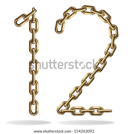 Golden one and two numbers, made with chains, isolated on white  - stock vector