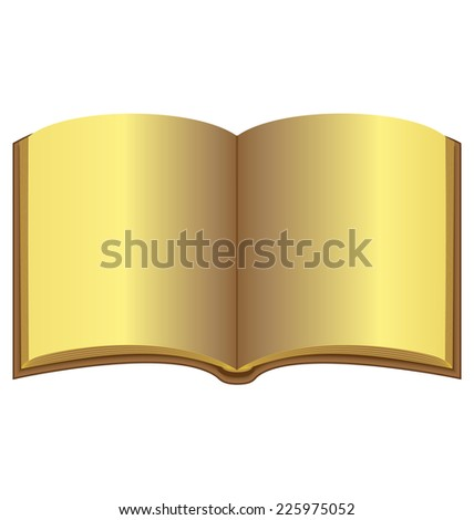 Golden open book isolated on white background - stock vector