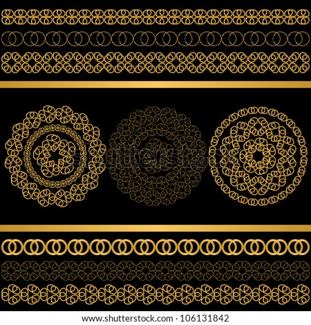 Golden Ornament Set. Jpeg Version Also Available In Gallery. - stock vector
