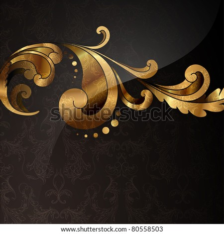 golden ornament with seamless background - stock vector