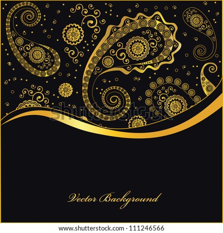 golden paisley background, vector - stock vector