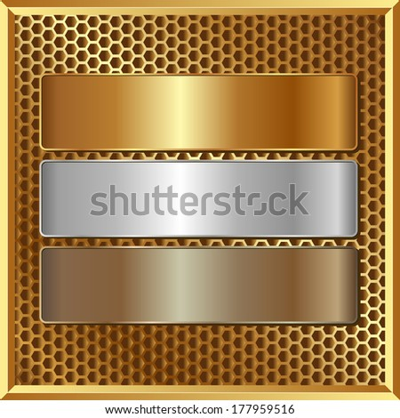 golden panel with three banners - stock vector