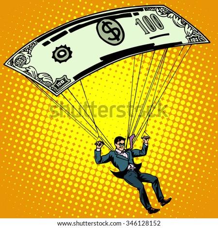 Golden parachute business concept cash compensation pop art retro style. A man descends by parachute money banknote one hundred dollars. Financial success and good profit - stock vector