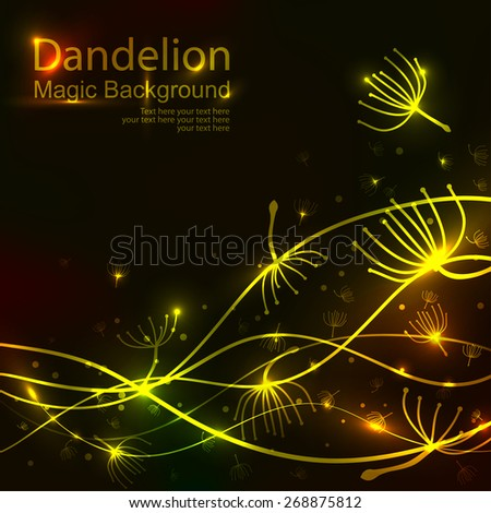 Golden Party design template with Dandelions. Vector illustration - stock vector