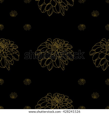 Golden peony decor seamless pattern. Vector illustration for your design - stock vector