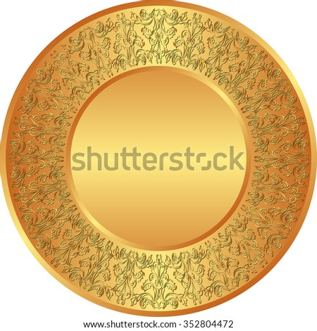 golden plate with antique ornaments - stock vector