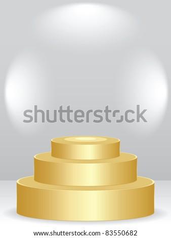 golden podium - stock vector